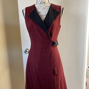 Burgundy and Black career dress